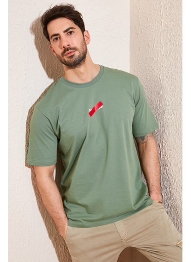 Buratti Buratti Oversize Baskılı Bisiklet Yaka % 100 Pamuk T Shirt Erkek T Shirt 5721019 Haki